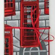 Red Phone Boxes fabric-covered notebook, A6 / 6x4""