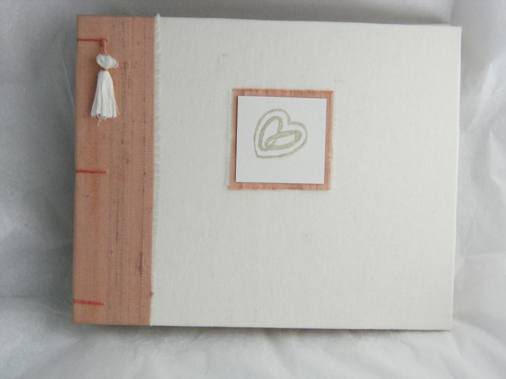 Wedding Guest Book White Linen and Apricot Silk - Decorative binding - Ready to Ship