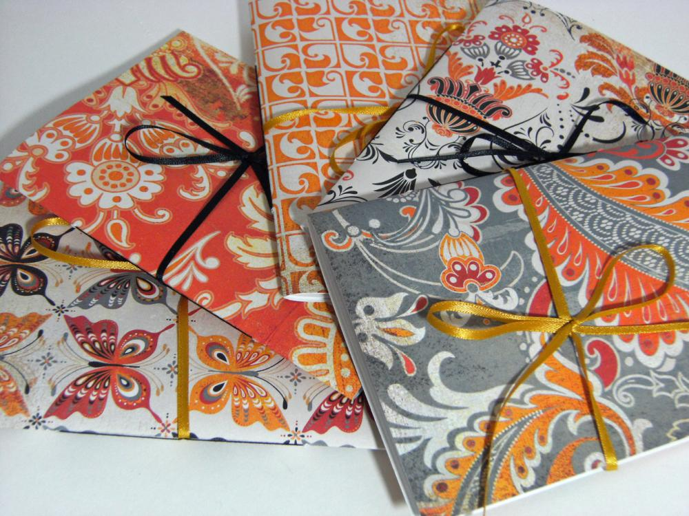 Set of 5 Note Books 6 x4 - Ambrosia Oranges - Wedding Guest Books, Favor Books, Notebooks