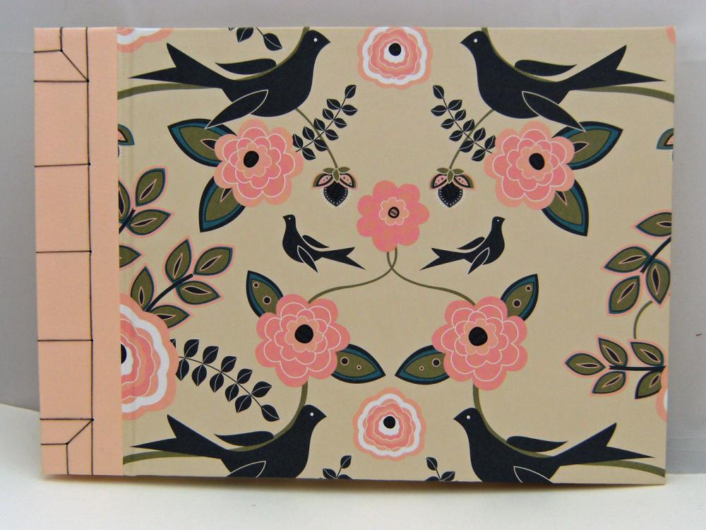 Wedding Guest Book or Wedding Album : Birds and Flowers - 9&quot; x 6.5&quot; - Made to Order