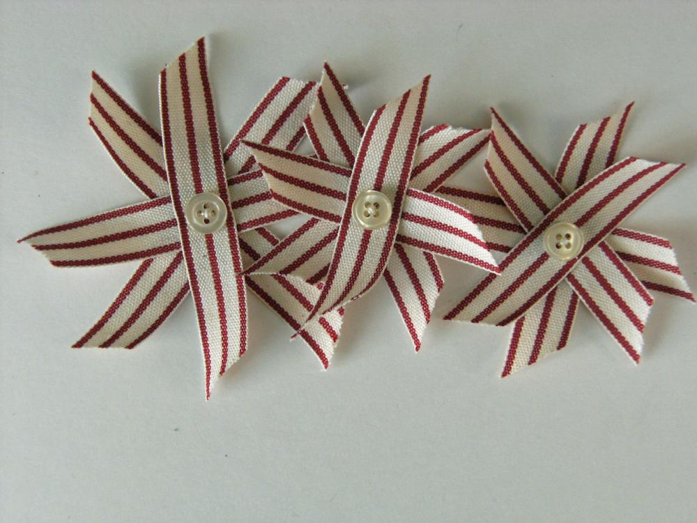 Vintage Red Flowers Stars, Ticking Stripe Flowers or Stars for Decor, Gift Wrap or Paper crafts