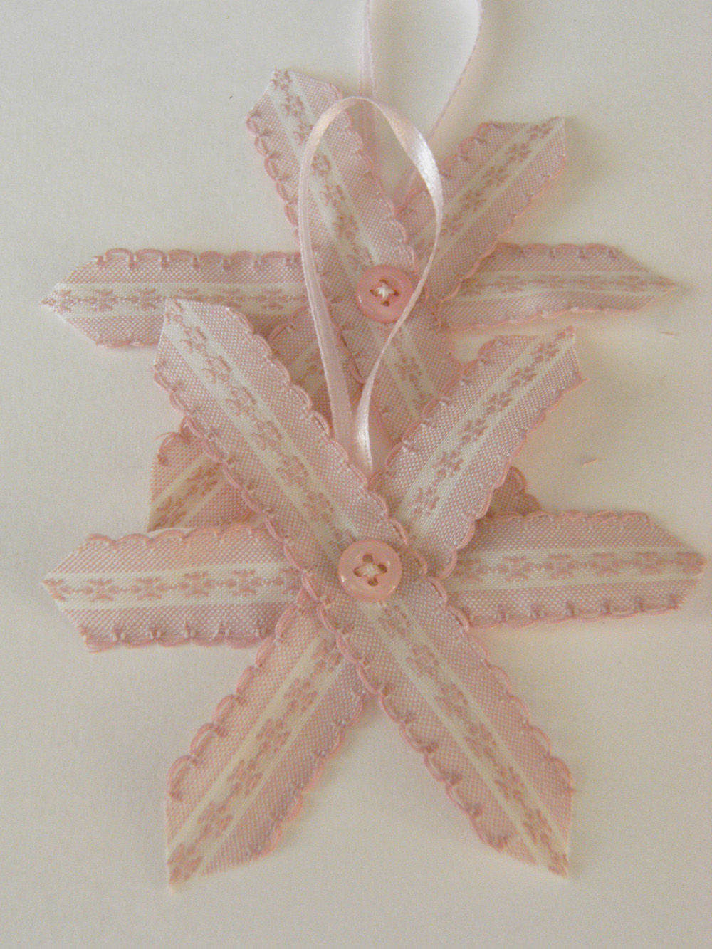 Vintage Pink Ticking Ribbon Stars for Decor, Gift Wrap or Paper crafts