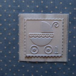 Baby Book Label - Embossed Pram or Baby Carriage Decor Embellishment