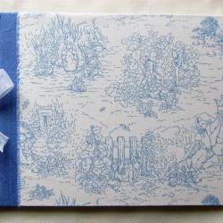 Baby Photo Album - Large Blue Silk & Beatrix Potter Fabric Album - Ready To Ship