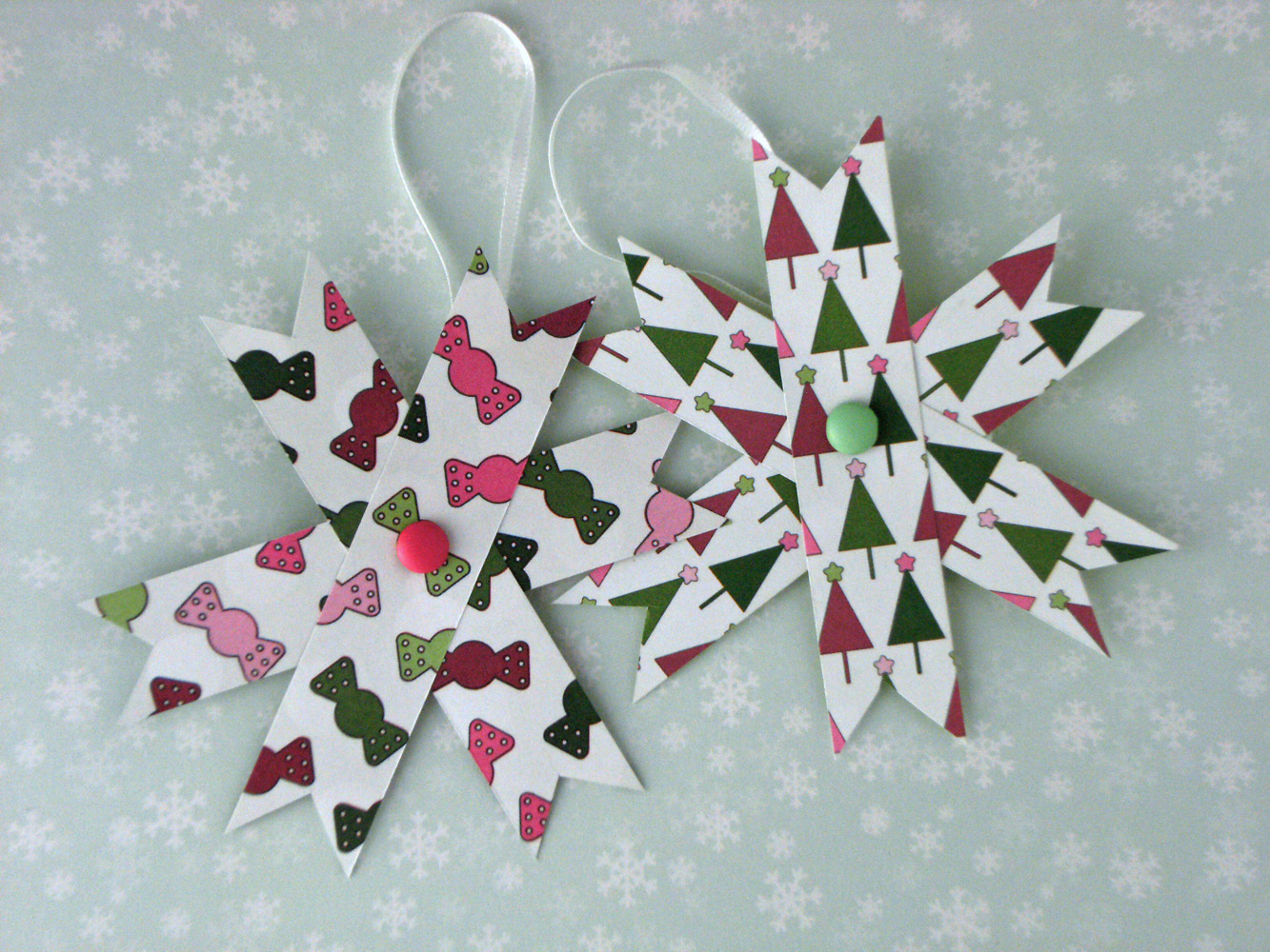 Home Decor Two Hanging Decorations Set Of 2 Paper Stars Pink And Green
